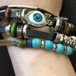 Jewelry - THE SPIRIT GUIDE STACKED LEATHER CHARM BRACELET